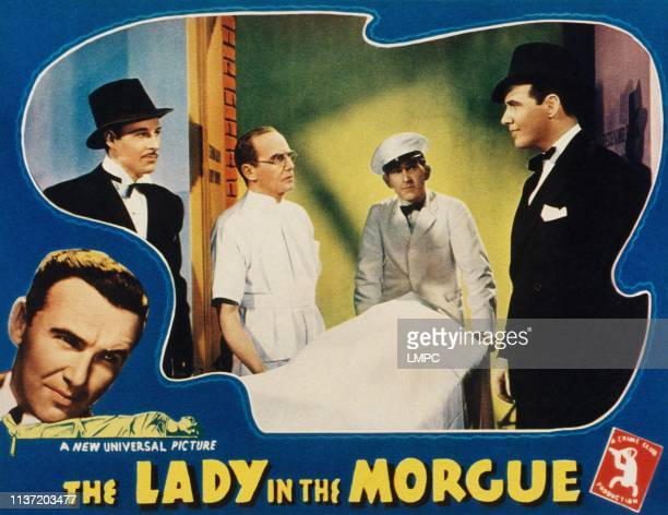 The Lady In The Morgue lobbycard from left Preston Foster Roland Drew Rollo Lloyd 1938