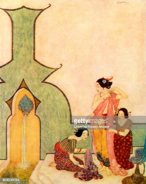 The Lady of Bedrelbudur cometh to the bath Illustration by Edmund Dulac for Aladdin and The Wonderful Lamp From The Arabian Nights published 1938