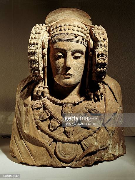 The Lady of Elche bust in carved stone unearthed in Elche Spain 56 cm h Greek Iberian or Punic Civilization 5th4th Century BC Madrid Museo...
