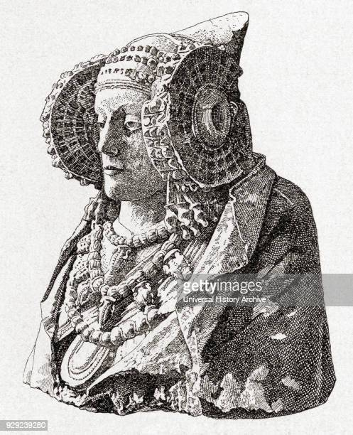 The Lady of Elche or Lady of Elx limestone bust discovered in 1897 at L'Alcúdia near Elche Spain on an archaeological site From Enciclopedia...
