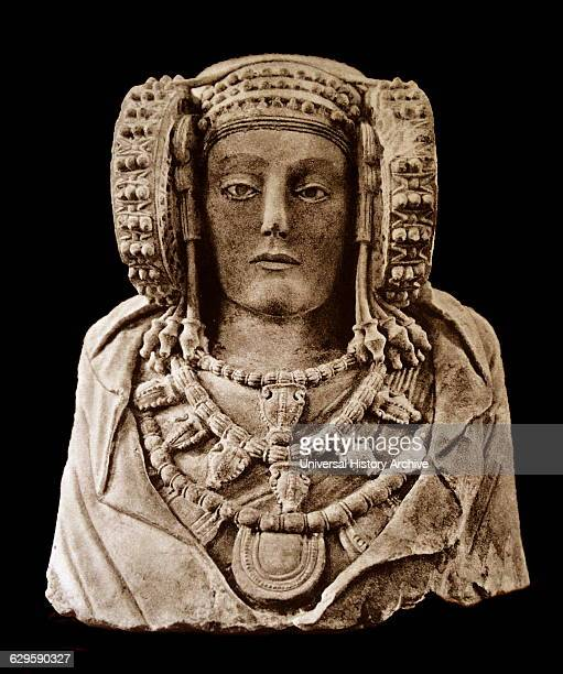 The Lady of Elche or Lady of Elx polychrome stone bust discovered in 1897 at L'Alcúdia an archaeological site Alicante Spain The Lady of Elche is...