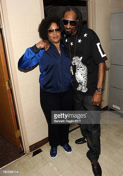 The Lady of Rage and Uncle Snoop pose backstage at the BET Hip Hop Awards 2013 at Boisfeuillet Jones Atlanta Civic Center on September 28, 2013 in...