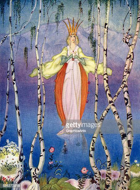 The Lady of the Lake from the Arthurian legend of Excalibur King Arthur's sword screen print 1920