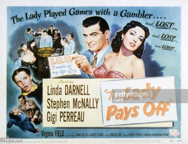 The Lady Pays Off lobbycard Gigi Perreau Stephen McNally Linda Darnell 1951