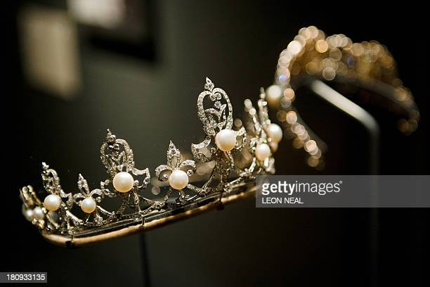 The Lady Raine Spencer tiara owned by stepmother to the late Diana Princess of Wales is displayed in the VA's 'Pearls' exhibition in west London on...
