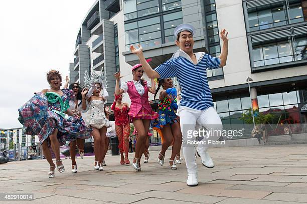 The Ladyboys of Bangkok perform during a photocall for their show 'Beauties and the Beats' during Edinburgh Festival Fringe previews on August 4 2015...