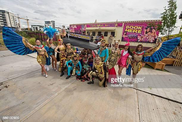 The Ladyboys of Bangkok performing at Fountanbridge Edinburgh Fringe Festival on August 5 2016 in Edinburgh Scotland
