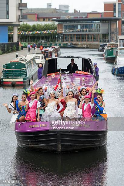 The Ladyboys of Bangkok pose during a photocall for their show 'Beauties and the Beats' during Edinburgh Festival Fringe previews on August 4 2015 in...