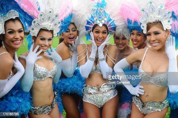 The Ladyboys of Bangkok pose during a photocall for their show Glamorous Amorous at The Edinburgh Festival Fringe on August 1 2013 in Edinburgh...