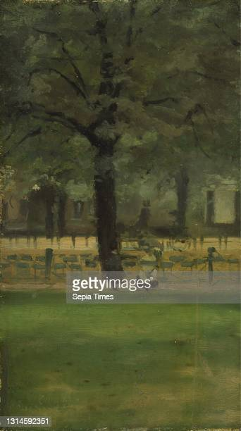 The Lady's Mile, Kensington Gardens, Paul Fordyce Maitland, 1863–1909, British, ca. 1900, Oil on panel, Support : 9 x 5 inches , cityscape, fence,...