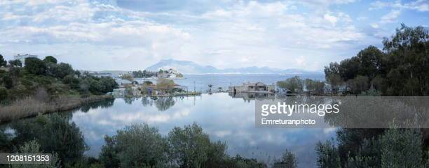 the lagoon in front of taslik beach on a cloudy winter day in mugla province,turkey. - emreturanphoto stock pictures, royalty-free photos & images