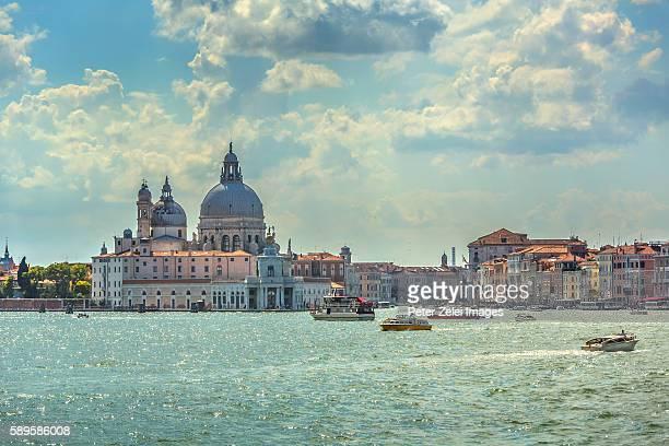 The lagoon in Venice with the church of Santa Maria della Salute in the background