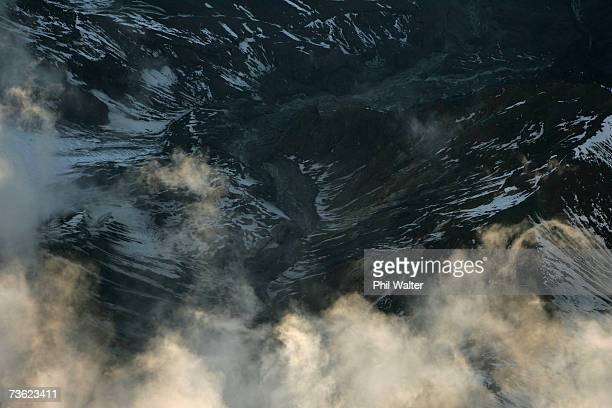 The Lahar makes its way down the side of Mount Ruapehu after breaking the crater wall on March 18 2007 in the National Park New Zealand The lake...