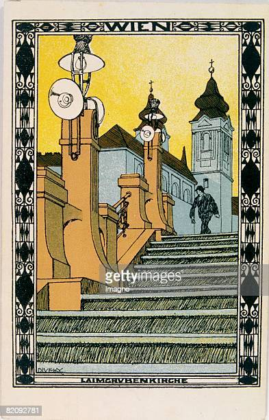 The Laimgrubenkirche Vienna Wiener WerkstaettePostcard Around 1911 [Die Laimgrubenkirche im 6 Bezirk Wien Wiener WerkstttePostkarte No Lithographie...