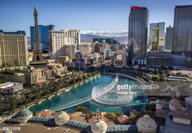 The lake and musical water fountain show at the Bellagio Hotel Casino located at the corner of Flamingo Road and Las Vegas Blvd is viewed from...