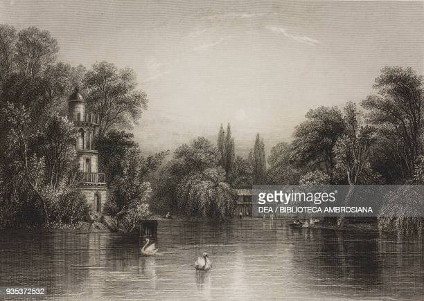 The lake and the Hamlet of Trianon engraving by S Fisher from a drawing by W Callow from Picturesque annual Versailles ca 18401850 by Charles Heath