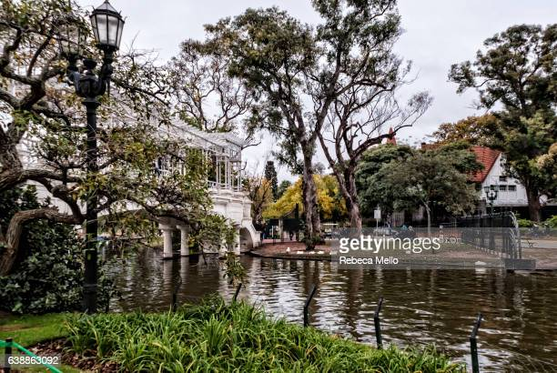 the lake and the hellenic bridge - palermo buenos aires stock photos and pictures