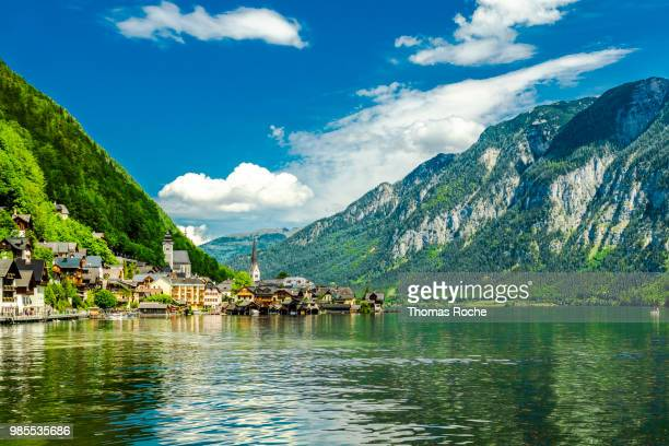 the lake and the town of hallstatt, austria - hallstatter see stock pictures, royalty-free photos & images