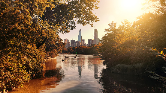 The lake at Central Park, with view of the skyscrapers of Central Park South in the background. New York City, USA - gettyimageskorea