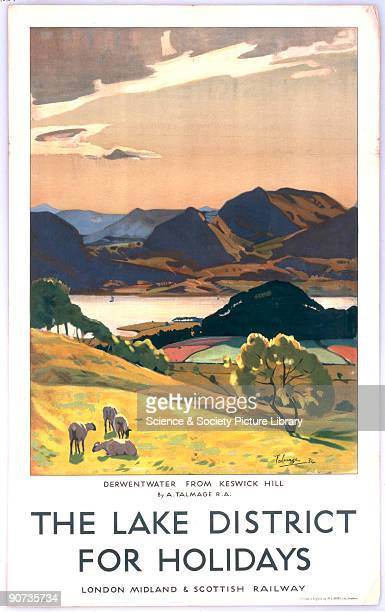 ?The Lake District for Holidays - Derwentwater from Keswick Hill'. Poster produced for the London, Midland & Scottish Railway , promoting rail travel...
