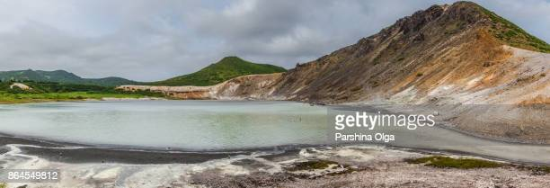The lake in the caldera of Golovnin volcano, Kunashir island, Russia
