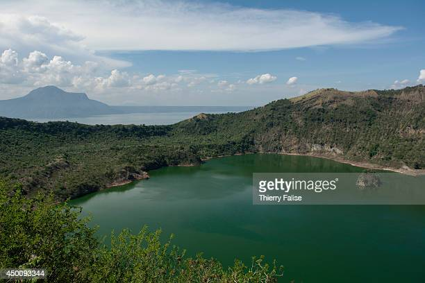 The lake inside the Taal volcano crater standing on the Taal Lake a large fresh water lake near Manila