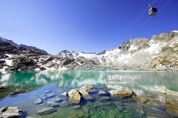 The Lake Monticello on the Presena glacier, Trentino Alto Adige, Italy.