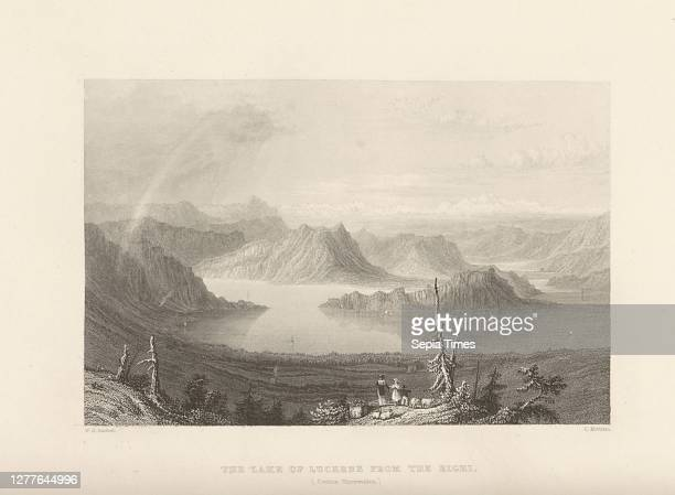 The lake of Lucerne from the Righi. , View from Rigi over Lake Lucerne, Signed: W. H. Bartlett; C. Mottram, plate 28, after p. 116 , Bartlett,...