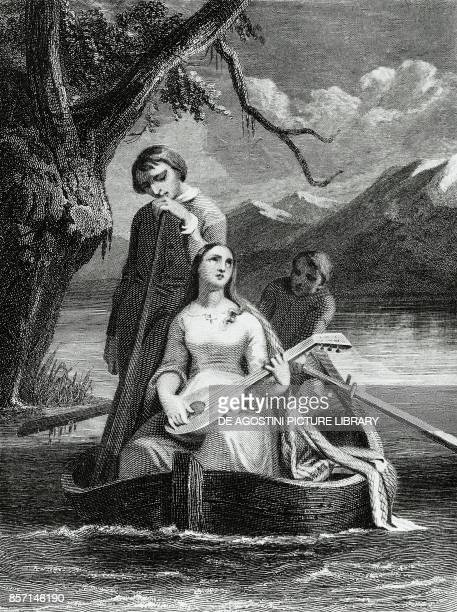 The lake scene from the poem by Alphonse Marie Louis de Prat de Lamartine engraving by Antoine Johannot known as Tony Johannot
