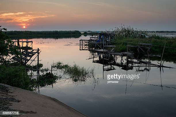the lake sunset - escarpment stock pictures, royalty-free photos & images