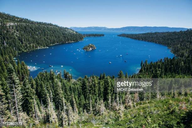 The Lake Tahoe is photographed for Paris Match with a view of Emerald Bay and Fannette Island on July 14, 2019 in Sierra Nevada, United States of...