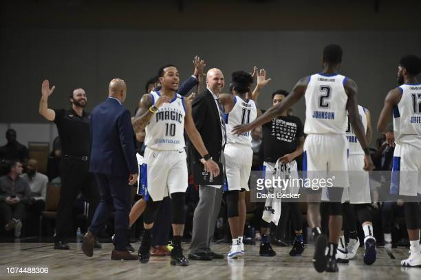 The Lakeland Magic celebrates after timeout against the Santa Cruz Warriors during the NBA G League Winter Showcase on December 20, 2018 at Mandalay...