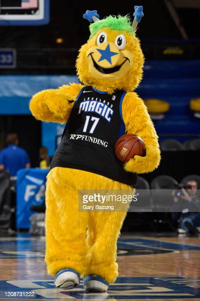 The Lakeland Magic mascot walks on the court during the game against the Fort Wayne Mad Ants on December 10, 2019 at RP Funding Center in Lakeland,...