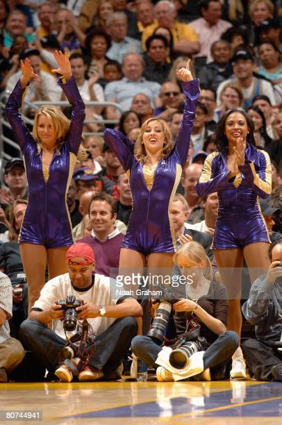 The Laker Girls cheer during the game between the Sacramento Kings and the Los Angeles Lakers on April 15 2008 at Staples Center in Los Angeles...
