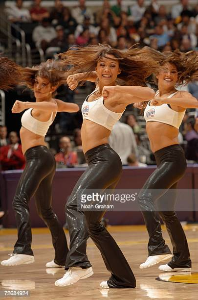 The Laker Girls entertain the crowd during the NBA game between the the Los Angeles Lakers and the Detroit Pistons on November 10 2006 at Staples...