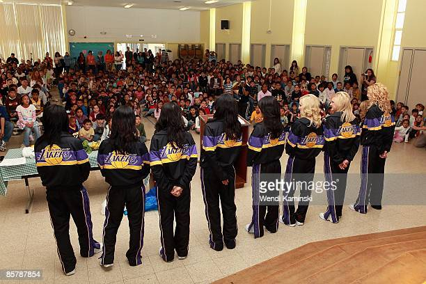 The Laker Girls participate in Anthem Blue Cross's 'Fit for Life' nutrition campaign on March 16 2009 at Mark Twain Elementary School in Lawndale...