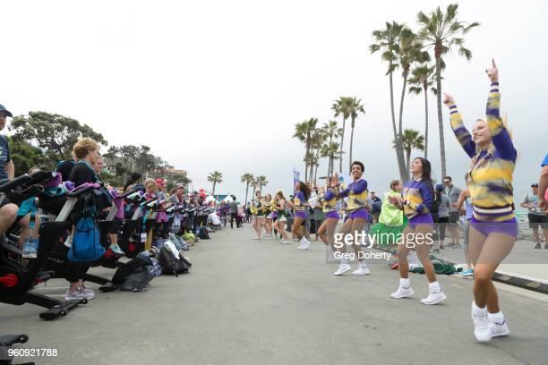 The Laker Girls perform at the 6th Annual Tour de Pier at Manhattan Beach Pier on May 20 2018 in Manhattan Beach California