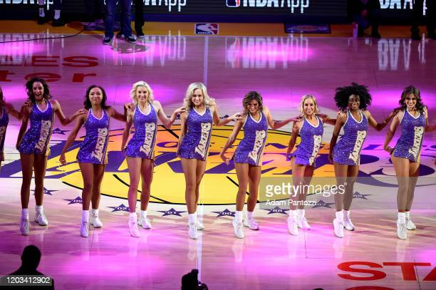 The Laker Girls perform before the game against the New Orleans Pelicans on February 25, 2020 at STAPLES Center in Los Angeles, California. NOTE TO...