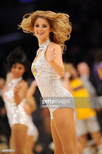 The Laker Girls perform during a break from the game between the Minnesota Timberwolves and the Los Angeles Lakers at the Staples Center on December...