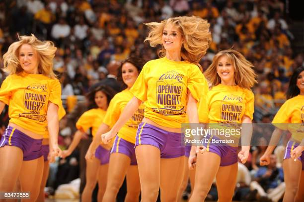 The Laker Girls perform during a break in the action of the game against the Portland Trailblazers at Staples Center on October 28 2008 in Los...