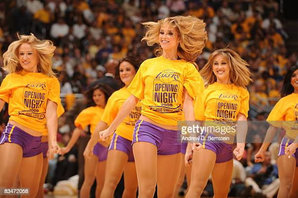 The Laker Girls perform during a break in the game against the Portland Trail Blazers at Staples Center on October 28 2008 in Los Angeles California...