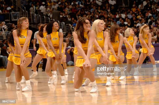 The Laker girls perform during a timeout in the game between the Los Angeles Clippers and the Los Angeles Lakers at Staples Center on November 18...