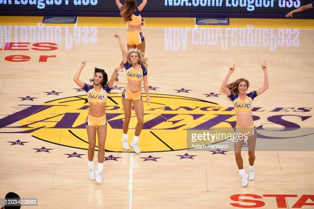 The Laker Girls perform during the game against the New Orleans Pelicans on February 25, 2020 at STAPLES Center in Los Angeles, California. NOTE TO...