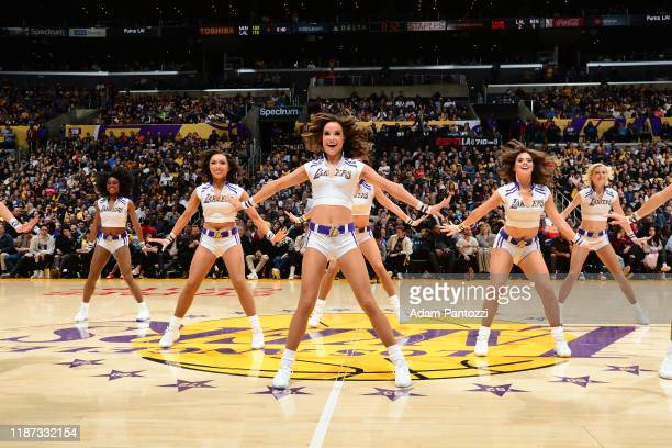 The Laker Girls perform during the game between the Los Angeles Lakers and the Minnesota Timberwolves on December 8, 2019 at STAPLES Center in Los...
