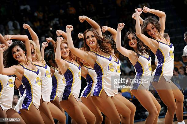 The Laker Girls perform during the game between the Los Angeles Lakers and the Golden State Warriors on October 12 2014 at Citizens Business Bank...