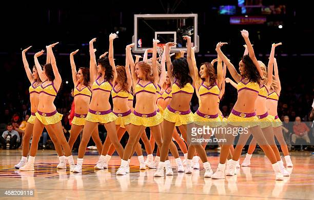 The Laker Girls perform during the game between the Los Angeles Lakers and the Los Angeles Clippers at Staples Center on October 31 2014 in Los...
