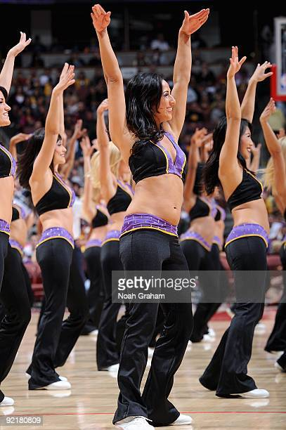 The Laker Girls perform during the preseason game between the Los Angeles Lakers and the Golden State Warriors on October 7 2009 at Honda Center in...