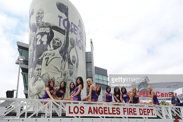 The Laker Girls pose during the Los Angeles Lakers Championship Parade on June 21 2010 in Los Angeles California NOTE TO USER User expressly...