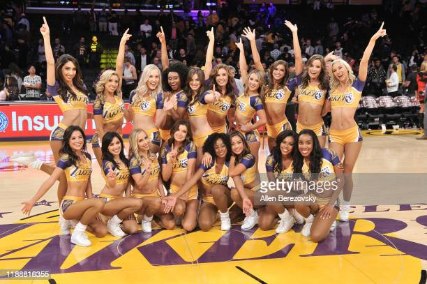 The Laker Girls pose for a photo after a basketball game between the Los Angeles Lakers and the Oklahoma City Thunder at Staples Center on November...