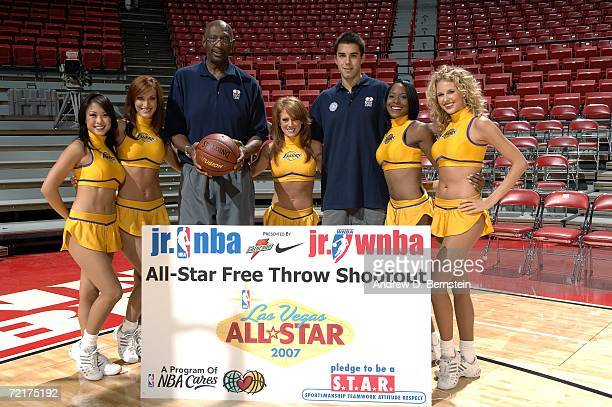 The Laker Girls pose with NBA Legend Bob Lanier and Sasha Vujacic of the Los Angeles Lakers during the jr nba and jr wnba AllStar Free Throw Shootout...